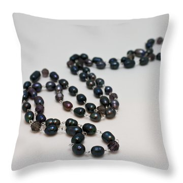3613 Peacock Freshwater Pearl Rope Length Necklace  Throw Pillow by Teresa Mucha