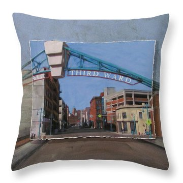 3rd Ward Entry Layered Throw Pillow by Anita Burgermeister