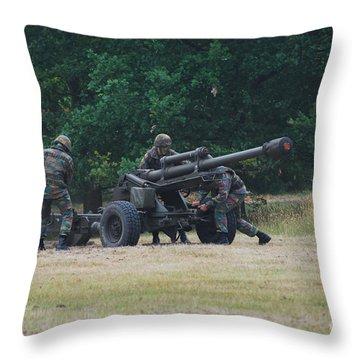 A Belgian Artillery Unit Setting Throw Pillow by Luc De Jaeger