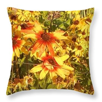 Garden  Flowers  Throw Pillow by Thelma Harcum