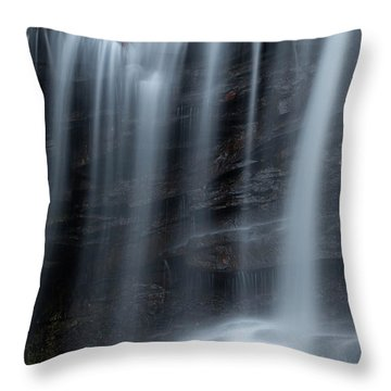 Misty Canyon Waterfall Throw Pillow by John Stephens