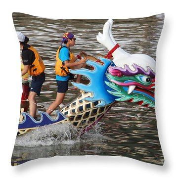 Scene From The Dragon Boat Races In Kaohsiung Taiwan Throw Pillow by Yali Shi