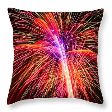 4th Of July - Independence Day Fireworks Throw Pillow by Gordon Dean II