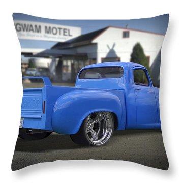 56 Studebaker At The Wigwam Motel Throw Pillow by Mike McGlothlen