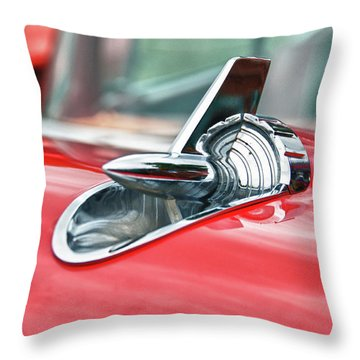 57 Chevy Hood Ornament 8509 Throw Pillow by Guy Whiteley