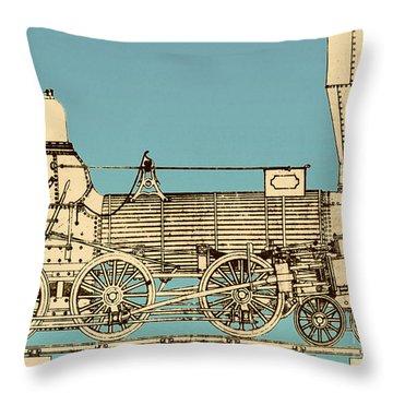 19th Century Locomotive Throw Pillow by Omikron