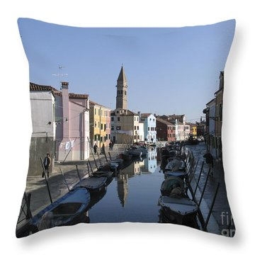 Burano.venice Throw Pillow by Bernard Jaubert