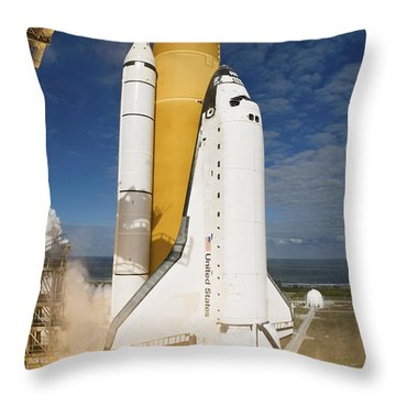 Space Shuttle Atlantis Lifts Throw Pillow by Stocktrek Images