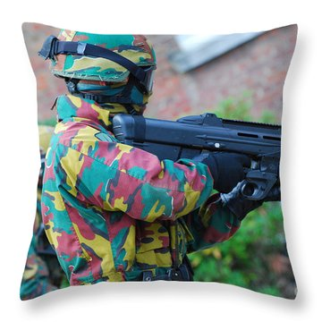 A Belgian Paratrooper  Handling The Fn Throw Pillow by Luc De Jaeger