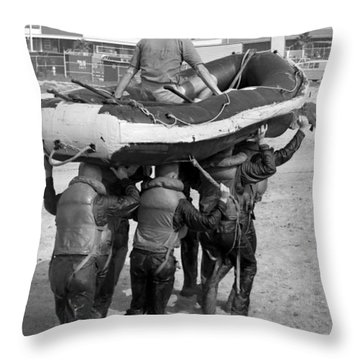 A Buds 1st Phase Boat Crew Carry An Throw Pillow by Michael Wood