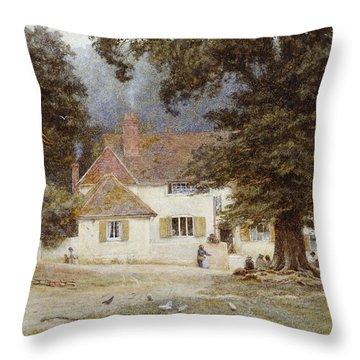 A Cart By A Village Inn Throw Pillow by Helen Allingham