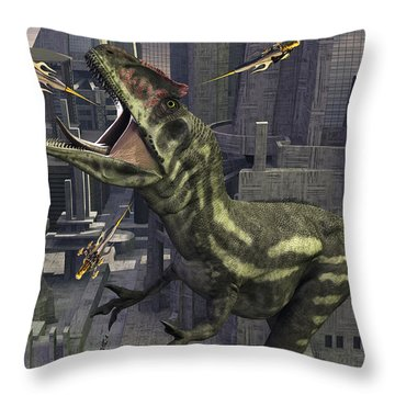 A Cloned Allosaurus Being Sedated Throw Pillow by Mark Stevenson