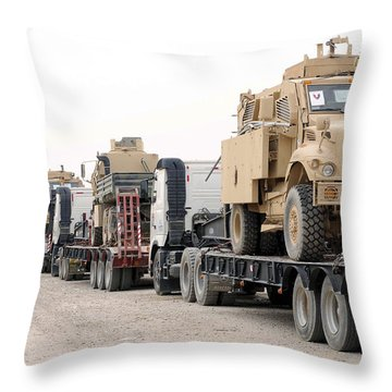 A Convoy Of Mine-resistant Ambush Throw Pillow by Stocktrek Images