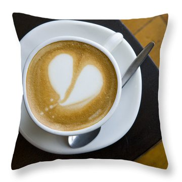 A Cup Of Coffee With A Heart Design Throw Pillow by Bill Hatcher