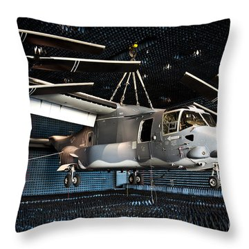 A Cv-22 Osprey Hangs In A Anechoic Throw Pillow by Stocktrek Images