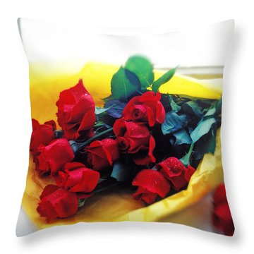 A Dozen Red Roses Throw Pillow by Garry Gay