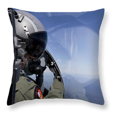 A F-15 Pilot Looks Over At His Wingman Throw Pillow by HIGH-G Productions