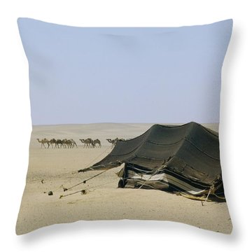 A Herd Of Camels Heading Throw Pillow by W. Robert Moore