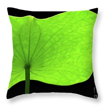 A Huge Green Lotus Leaf Throw Pillow by Sabrina L Ryan