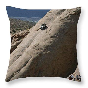 A Jeep Drives Down A Slick Rock Throw Pillow by James P. Blair