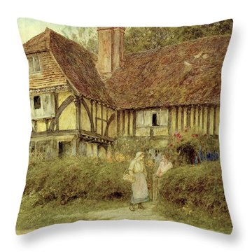 A Kentish Cottage Throw Pillow by Helen Allingham