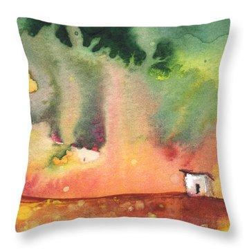 A Little House On Planet Goodaboom Throw Pillow by Miki De Goodaboom