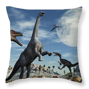 A Lone Camarasaurus Dinosaur Throw Pillow by Mark Stevenson