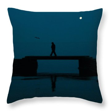 A Lone Man Throw Pillow by Jasna Buncic