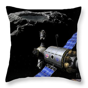 A Manned Maneuvering Vehicle Undocks Throw Pillow by Walter Myers