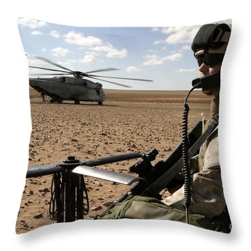 A Marine Assembles A Radio Antenna Throw Pillow by Stocktrek Images