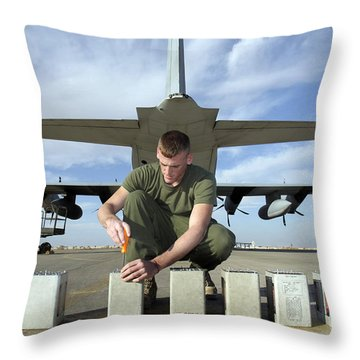 A Marine Replaces Flares In Flare Throw Pillow by Stocktrek Images