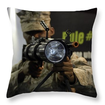 A Marine Tests The Night Hunter II Throw Pillow by Stocktrek Images