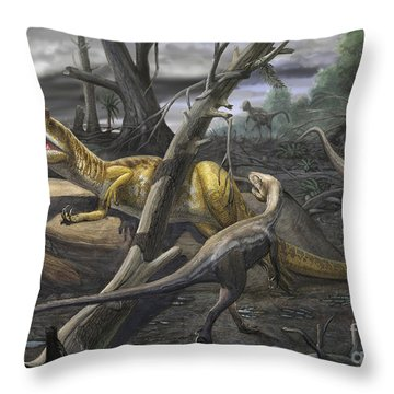 A Neovenator Salerii Is Approached Throw Pillow by Sergey Krasovskiy