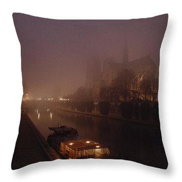 A Night View Across The Seine Towards Throw Pillow by James L. Stanfield