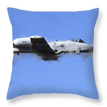 A Pilot In An A-10 Thunderbolt II Fires Throw Pillow by Stocktrek Images