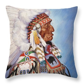 A Portrait Of 95-year Old Sioux Chief Throw Pillow by W. Langdon Kihn