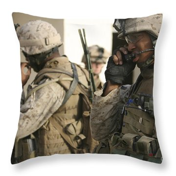 A Radio Operator Helps A Platoon Throw Pillow by Stocktrek Images