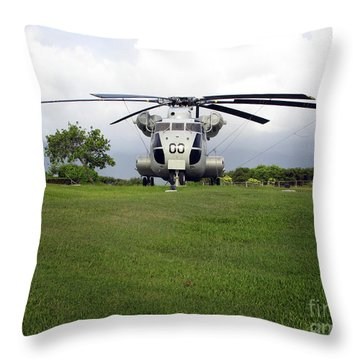 A Rh-53d Sea Stallion Helicopter Throw Pillow by Michael Wood