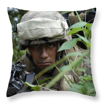 A Rifleman Conceals Himself Throw Pillow by Stocktrek Images