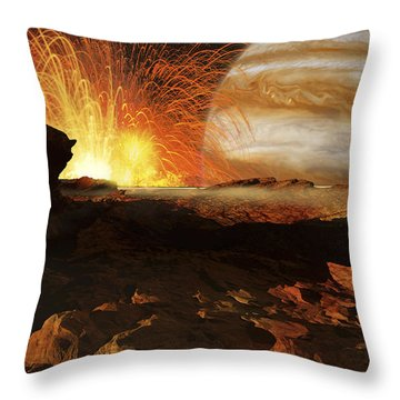 A Scene On Jupiters Moon, Io, The Most Throw Pillow by Ron Miller