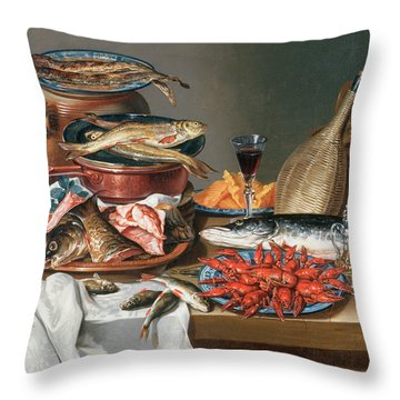 A Still Life Of A Fish Trout And Baby Lobsters Throw Pillow by Anton Friedrich Harms