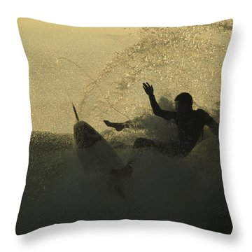 A Surfer Wipes Out On A Breaking Wave Throw Pillow by Tim Laman