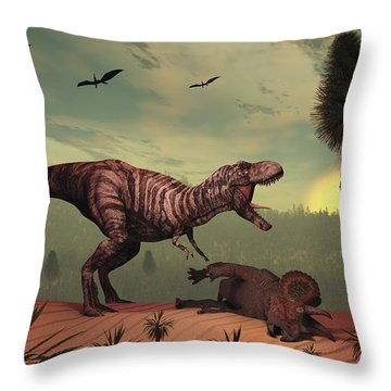 A Triceratops Falls Victim Throw Pillow by Mark Stevenson