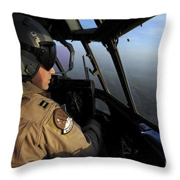 A U.s. Air Force C-130j Hercules Pilot Throw Pillow by Stocktrek Images
