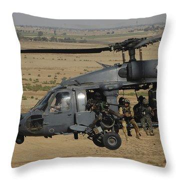A U.s. Air Force Hh-60 Pavehawk Flies Throw Pillow by Stocktrek Images