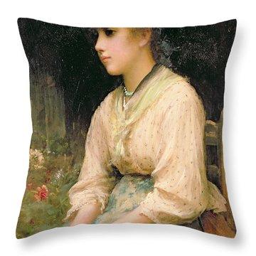 A Venetian Flower Girl Throw Pillow by Sir Samuel Luke Fildes