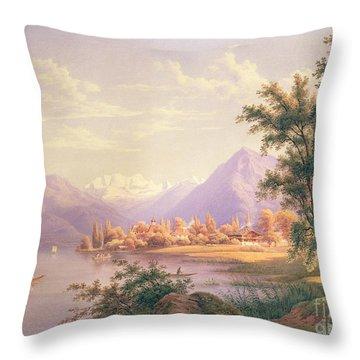 A View Of Scherzingen On The Lake Of Thun Throw Pillow by Jakob Suter
