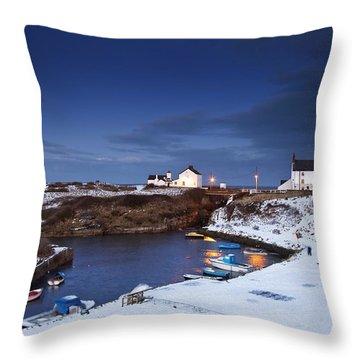 A Village On The Coast Seaton Sluice Throw Pillow by John Short