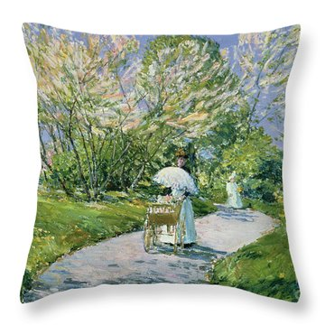 A Walk In The Park Throw Pillow by Childe Hassam