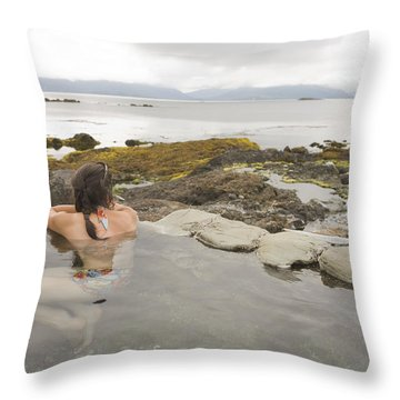 A Woman Enjoys A Hot Spring Throw Pillow by Taylor S. Kennedy